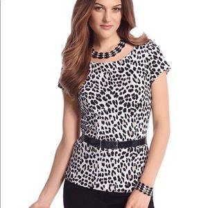 White House Black Market Leopard Print Blouse